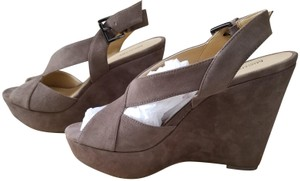 Michael Kors Suede Open Toe Taupe Wedges