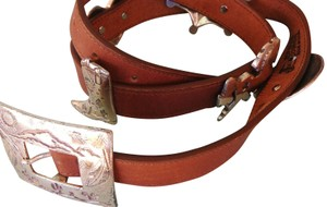Justin COWHIDE LEATHER CONCHO BELT