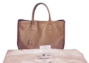 Prada Designer Saffiano Medium Tote in tan