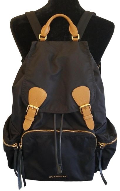 Item - Item# 21593357 Runway Ready Large Rucksack Black Technical Nylon and Brown Leather Backpack
