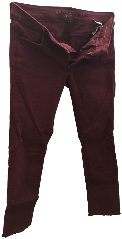528414c18d8 American Eagle Outfitters Burgundy / Wine Medium Wash Crop Jeggings ...