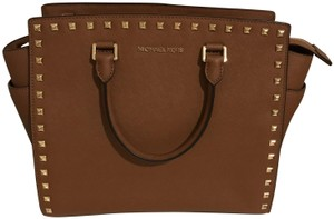 Michael Kors Studded Leather Tote in Tan