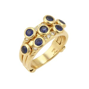 Adler Collection Diamond & Sapphire 18k Yellow Gold Band Ring