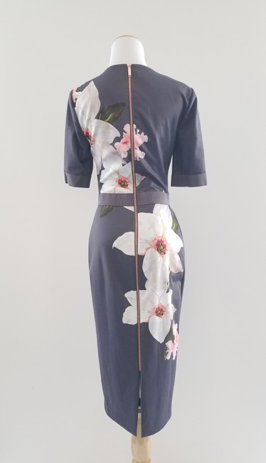 Item - Grey Bisslee Chatsworth Bloom Mid-length Work/Office Dress Size 4 (S)