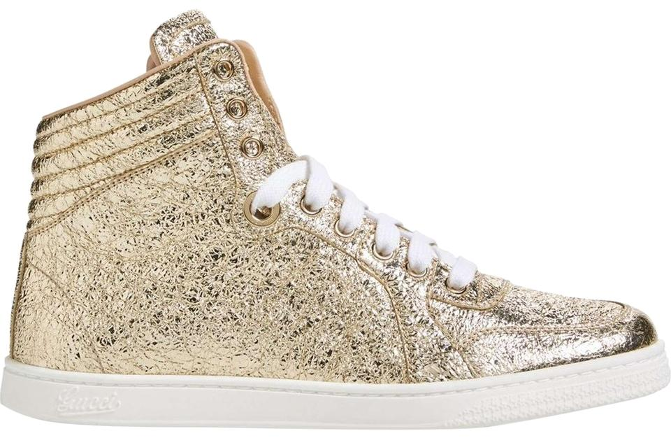 Gucci Gold Womens Leather Hitop Leather Sneakers Eu 38.5 Sneakers ... 65439d39e