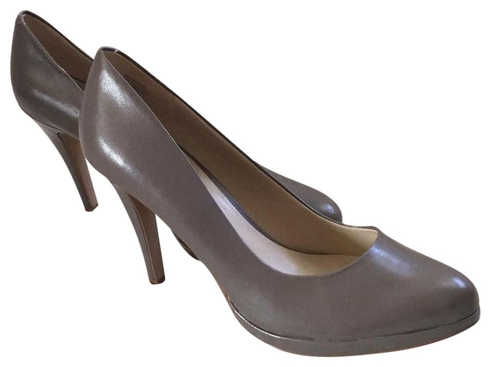 Nine West Taupe Soft Taupe West Modified Platform Leather Pumps 3c789c