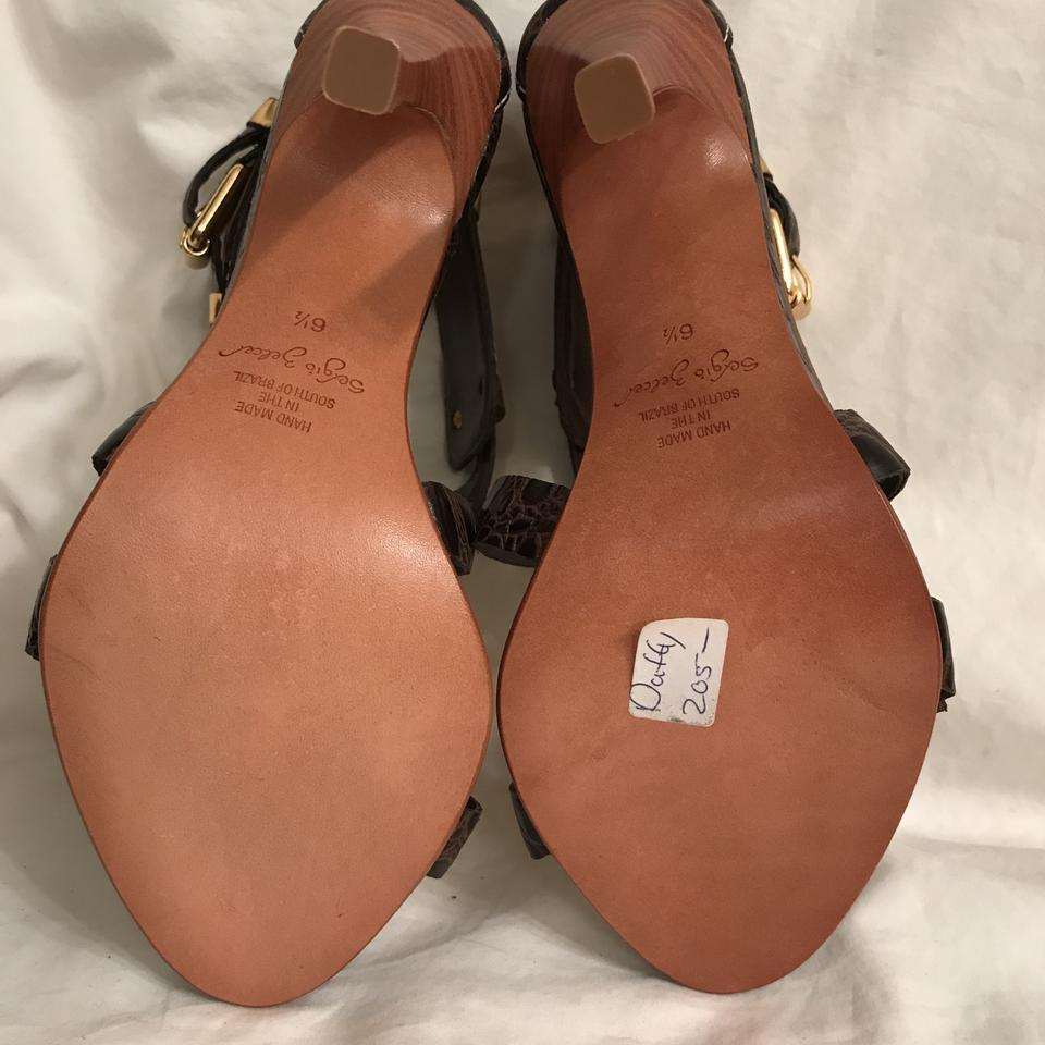 13ec17abc38 Sergio Zelcer Brown Gold New Duffy Leather Crisscross Straps Sandals Size  US 6.5 Regular (M, B) 64% off retail