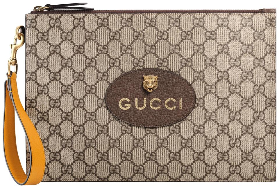 4518a7fd4411d3 Gucci New Neo Vintage Gg Supreme Leather Pouch Brown Canvas Clutch ...