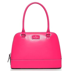 Kate Spade Structured Leather Gold Hardware Satchel in Bright Pink