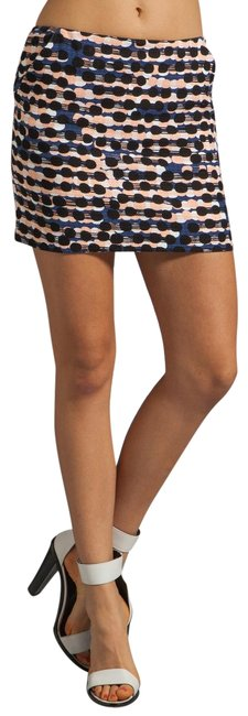 Item - Navy Peach White Racing Tweed Polka Dot Nelly Skirt Size 6 (S, 28)