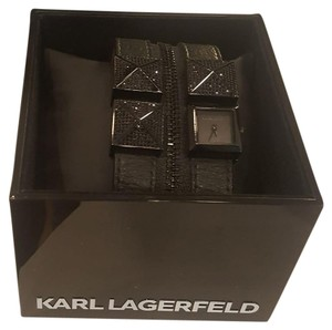 Karl Lagerfeld Karl Lagerfeld Black Leather and Stainless Steel Watch