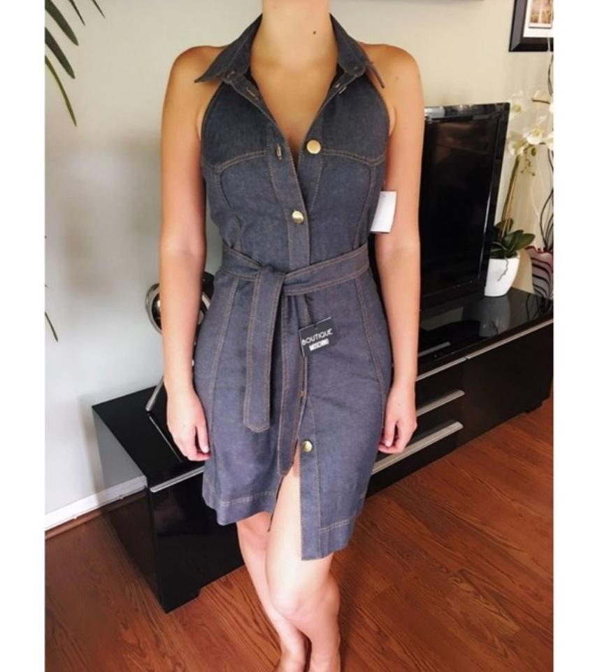 1f538ee7d7f Moschino New Stunning Open Back Denim 38 Short Casual Dress Size 4 (S) -  Tradesy