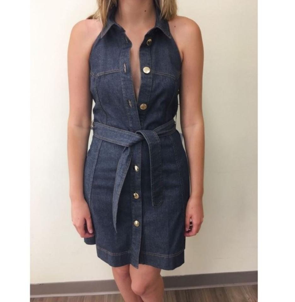 63da7c09e19 Moschino New Stunning Open Back Denim 38 Short Casual Dress Size 4 (S) -  Tradesy