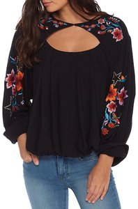 Free People Embroidered Cut-out Vintage Floral Flowy Top Black
