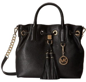 Michael Kors Leather Tassels Satchel in Black