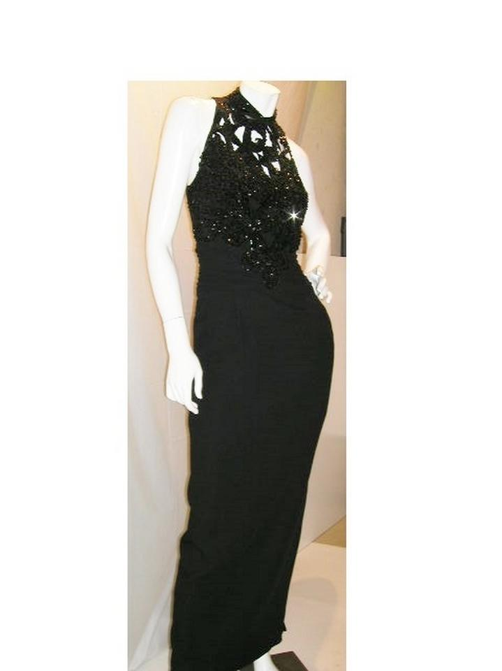 Just Female Black W Silk Embellished Top W/Tapered Empire & Drop Waist Long  Formal Dress Size 16 (XL, Plus 0x) 58% off retail