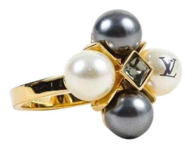 Item - Gray White & Gold Cry Me A River Faux Pearl Ring