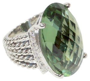 David Yurman David Yurman Large Wheaton Oval Prasiolite and Diamond Silver Ring