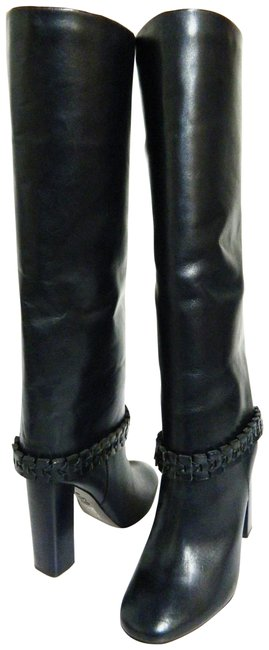 Item - Navy Leather Tall with Ankle Accent Trim Boots/Booties Size US 8 Regular (M, B)