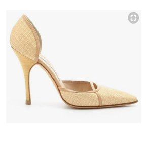Manolo Blahnik D'orsay Couture Leather Straw Pumps