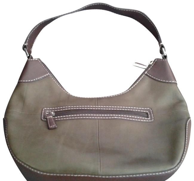Item - Rn93677 Olive Green and Chocolate Brown Cowhide Leather with Vinyl Trim Hobo Bag