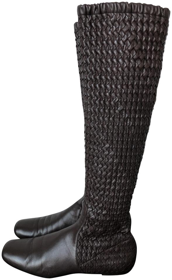 Bottega Veneta Pull Brown Intrecciato Knee-high Leather Pull Veneta On 10 Boots/Booties c0aa46