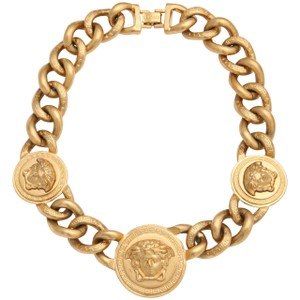 Versace NWT Gold Medallion Three Medusa Chain Necklace