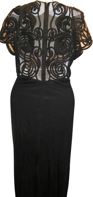 Item - Sold ***********black W Stretchy Embroidered Back & Sleeves W/Deep Plunge Front: Front Split Long Night Out Dress Size 14 (L)