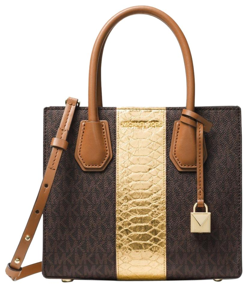 27a55703dd86 Michael Kors Mercer Logo and Embossed-leather Crossbody Brown ...