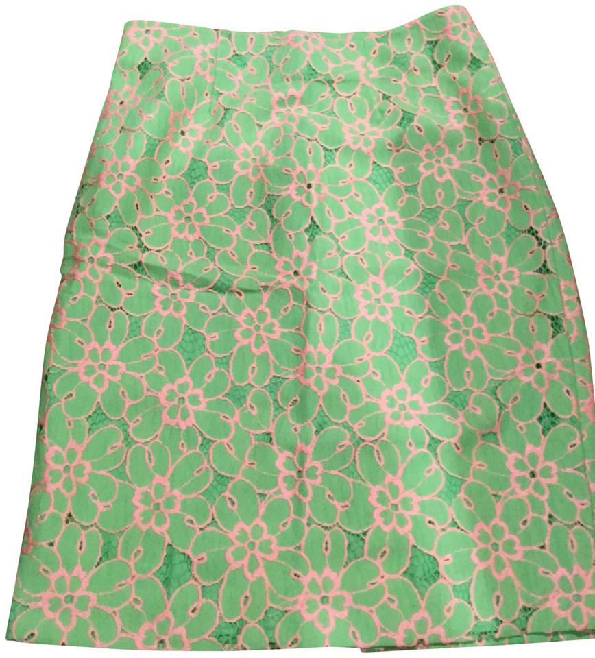 090bbc58e Lilly Pulitzer Green Pink Hyancinth Lace Eyelet Skirt Size 2 (XS, 26 ...