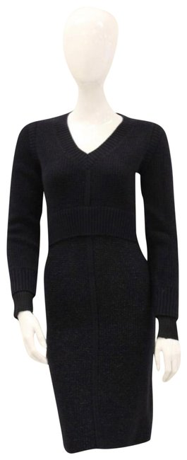 Item - Navy Blue Waffle Knit Sweater Mid-length Short Casual Dress Size 4 (S)