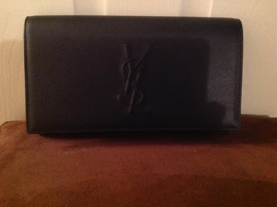 Saint Black Clutch Leather Laurent Classic ZaPnACZq
