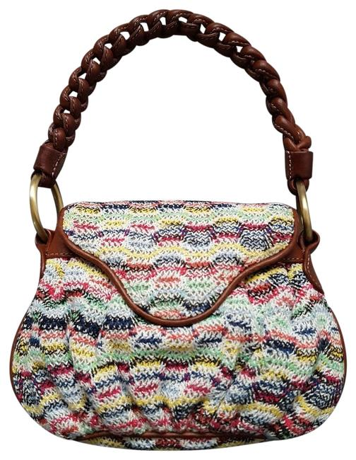 Item - Color Zig Zag Braided Handle Hand Multi / Brown Crochet Knit Fabric / Leather Clutch