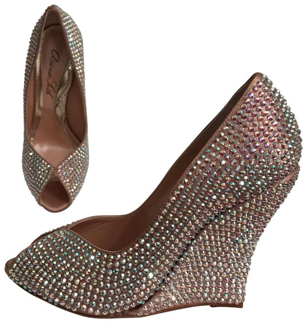 Item - Pink Rose Gold Totally New Peach Burma Covered In Crystals Pumps Size EU 37.5 (Approx. US 7.5) Regular (M, B)