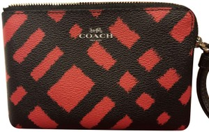 Coach Plaid Wallet Wristlet in Red