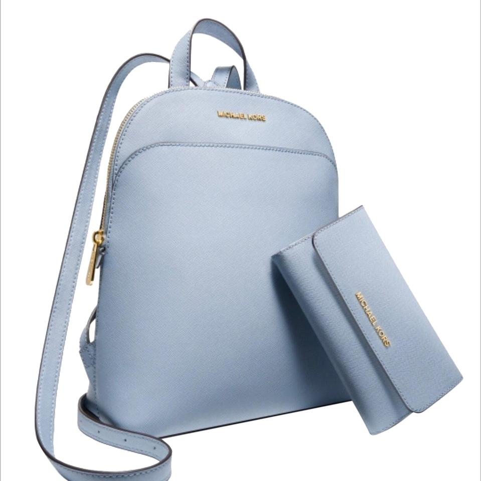 abcd1b2c16 Michael Kors Emmy Large Backpack&wallet Set Pale Blue Saffiano Leather  Backpack 45% off retail
