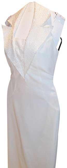 Item - White W Tailored Notched Beaded Haltered Collar W/ Low Back Long Night Out Dress Size 12 (L)