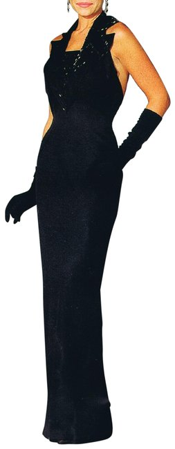 Item - Black W Tailored Beaded Collar W/Open Beaded Details Long Night Out Dress Size 18 (XL, Plus 0x)