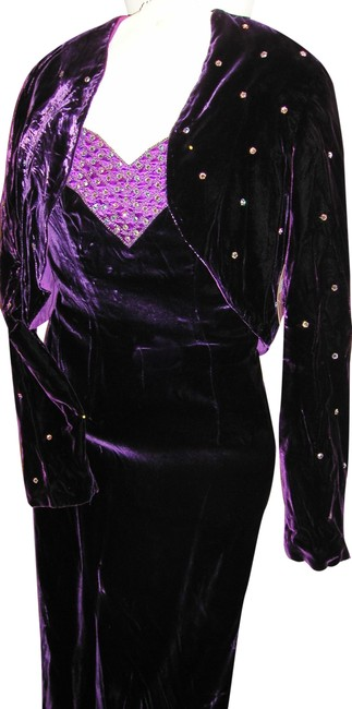 Item - Purple/Crystal W Velvet 2-pc W/Authentic Austrian Studded Bolero & Lined Bodice Long Night Out Dress Size 14 (L)