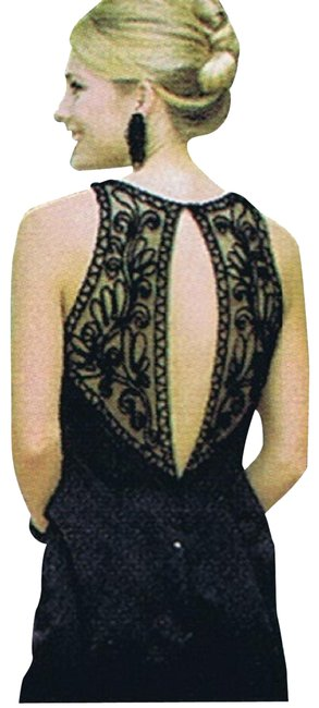Item - Black Embroidered Lace Sheer Bare Shoulder & Flat Train Long Night Out Dress Size 16 (XL, Plus 0x)