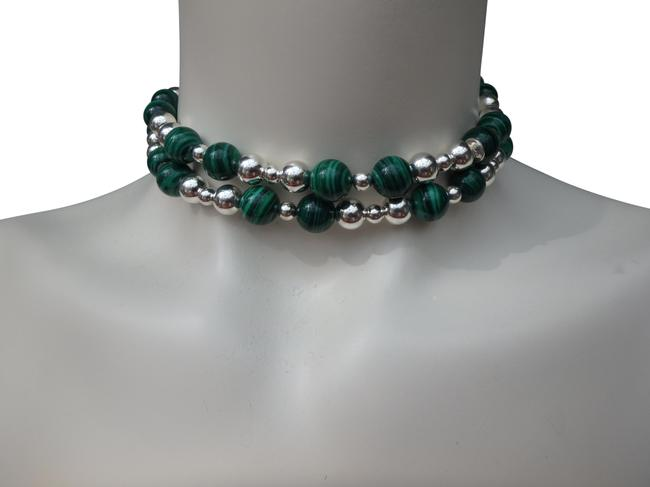 Tiffany Co Malachite And Sterling Silver Beads 30 Necklace Tradesy