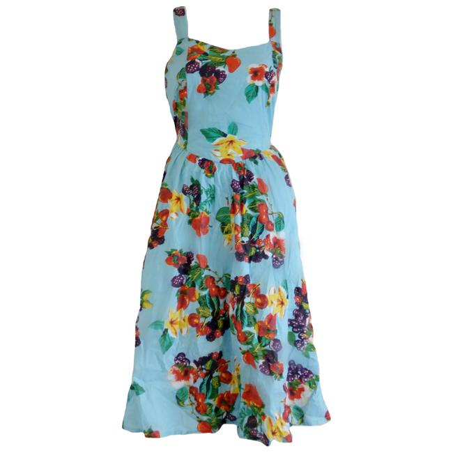 Preload https://img-static.tradesy.com/item/23058482/blue-floral-sweetheart-tropical-fruit-fit-flare-mid-length-short-casual-dress-size-4-s-0-0-650-650.jpg
