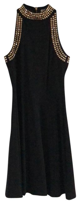 Item - Black with Gold Studs Rn 111818 Mid-length Cocktail Dress Size 0 (XS)