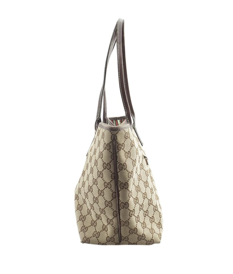 a7c58104c875 Gucci Britt 169946 New Gg Leather (145649) Brown Canvas Tote - Tradesy