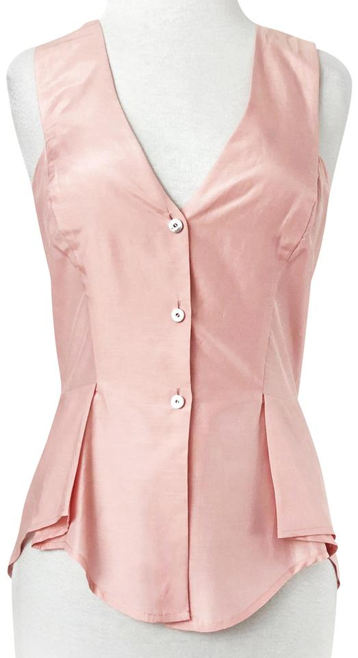 4167784191fe96 Twenty8Twelve Pink Silk High Low Button Down Sleeveless Peplum Shirt Blouse