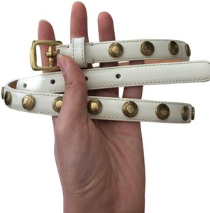 Coach White Patent Leather Belt with Gold Studs