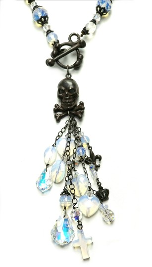 Kinley Skull Sterling Silver Front Toggle Kinley Necklace in Opalstone Image 3