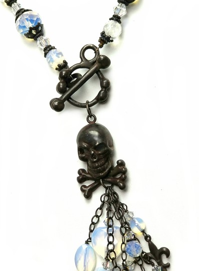 Kinley Skull Sterling Silver Front Toggle Kinley Necklace in Opalstone Image 4