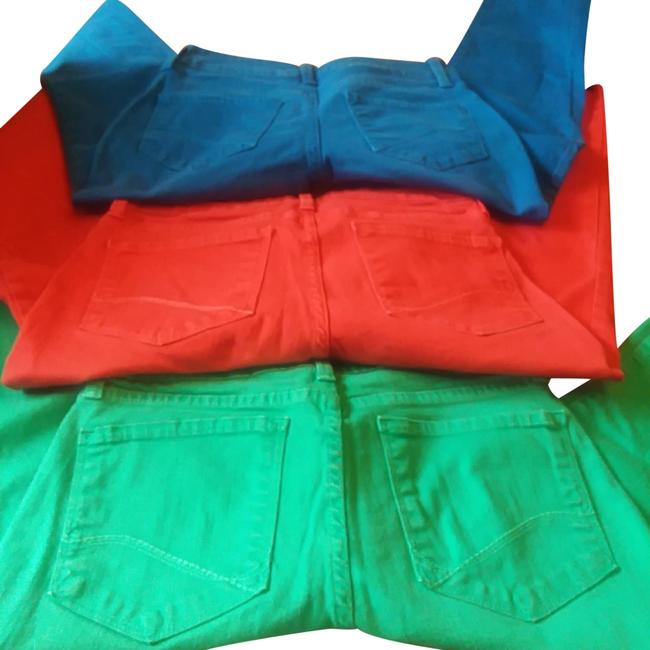 Item - 3 Pairs Of Green Red and Royal Blue Dark Rinse Colored Stretch Ankle Skinny Jeans Size 24 (0, XS)