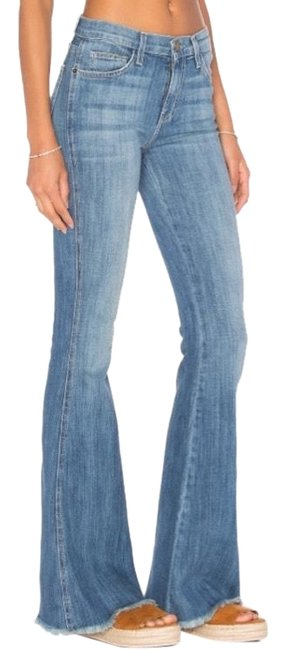 Item - Blue Medium Wash High Rise Low Bell Flare Leg Jeans Size 28 (4, S)